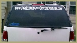 website banner decal on back window