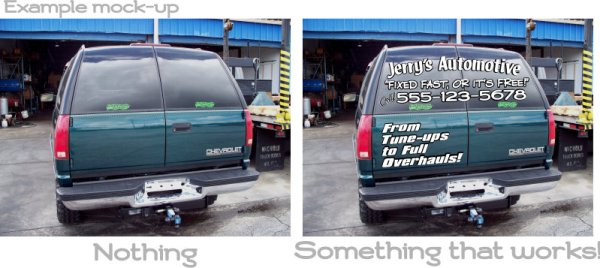 Back window advertising decals mock-up