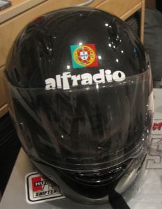 Motorcycle helmet with decal.