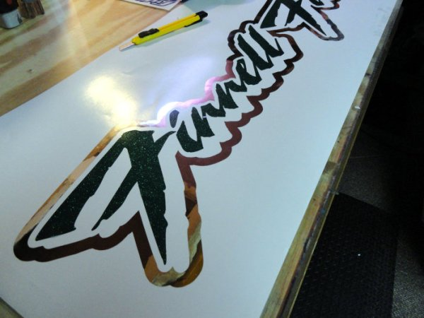 Custom lettering decal