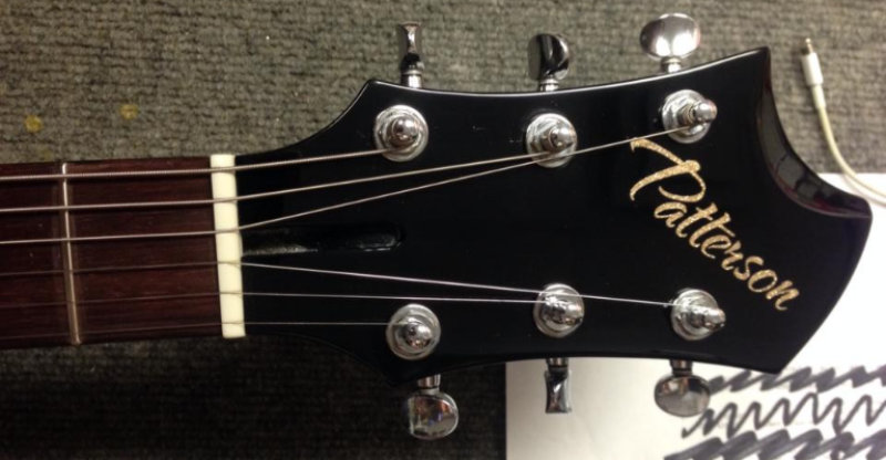 Guitar accents and custom lettering embellishment decals.