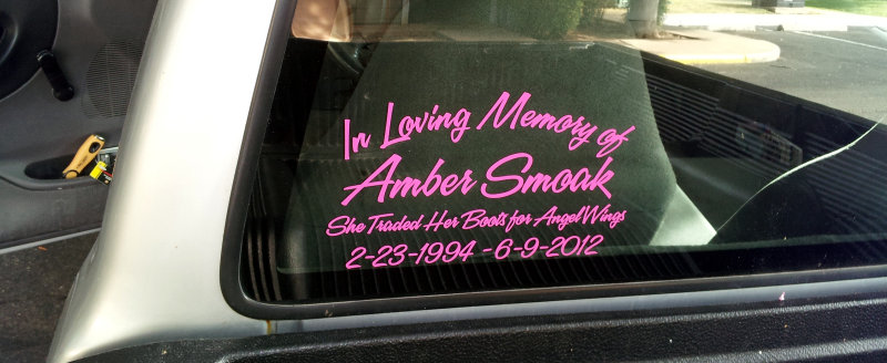 In Loving Memory decal in hot pink with sporty script