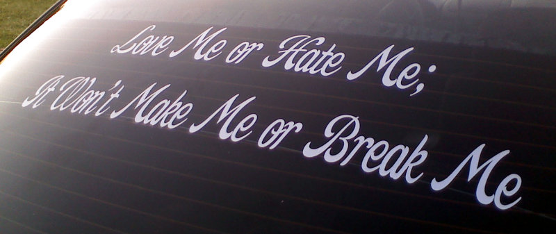 Love Me Hate ME It won't break ME vinyl decal on back window.