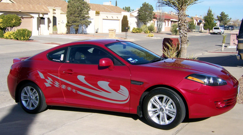 cool decals on red sports car
