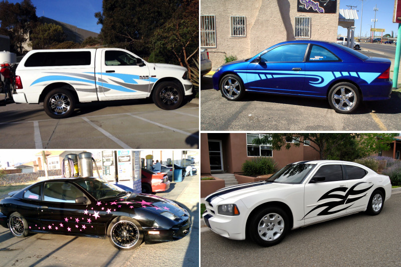 customized vinyl graphics on cars and trucks