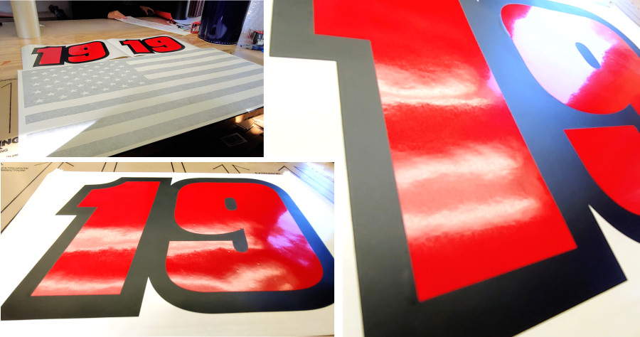 custom number decal matte black and red