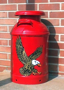 eagle decal on a red canister