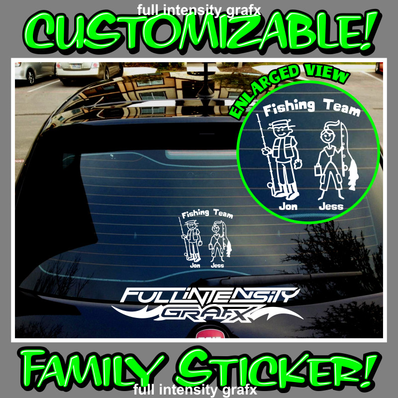 fishing team family sticker
