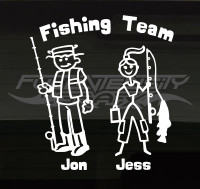 fishing family sticker
