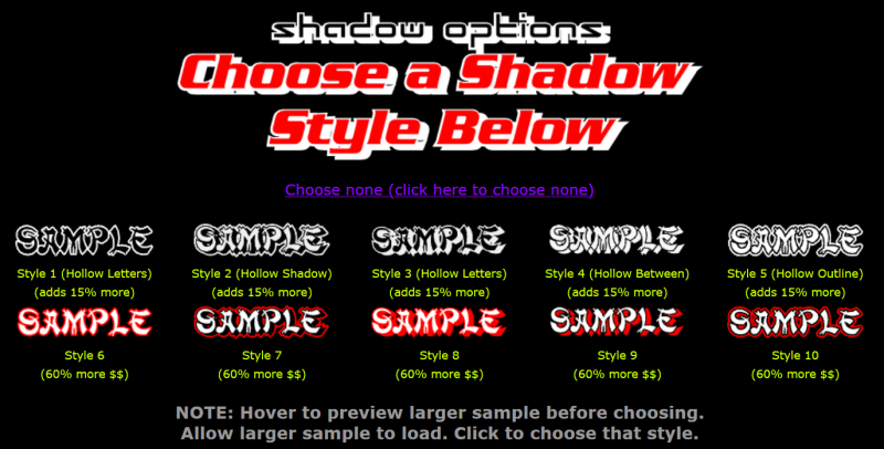 shadow style options for your custom lettering decal