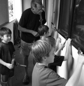 Besides running, our neighbor, Phil, has been giving the boys lessons on how to repair rusted out window frames.