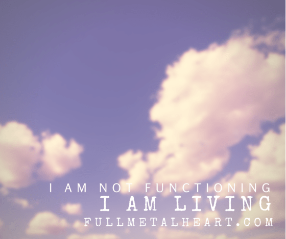 """Image is of a background with clouds. Text reads """"I am not functioning. I am living."""""""