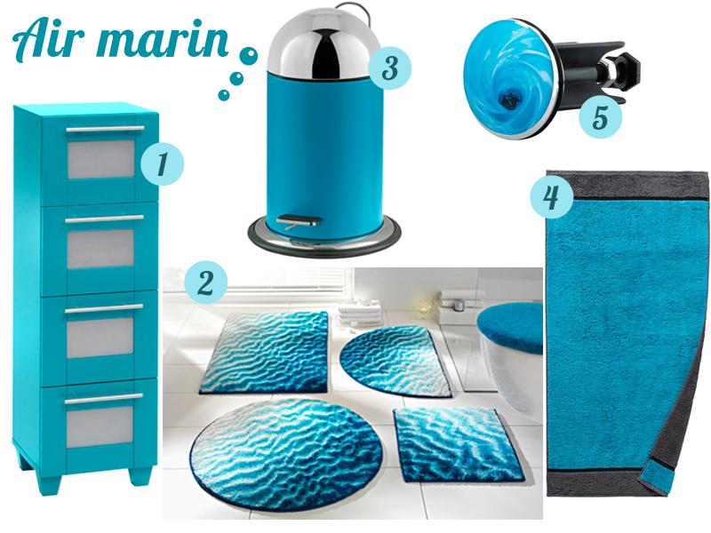 accessoire salle de bain bleu turquoise
