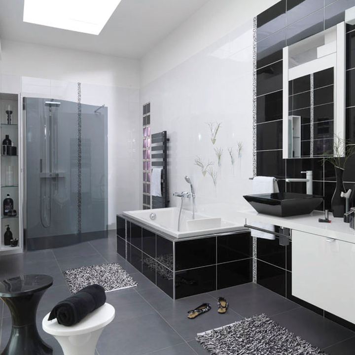 salle de bain noir et gris deco salle