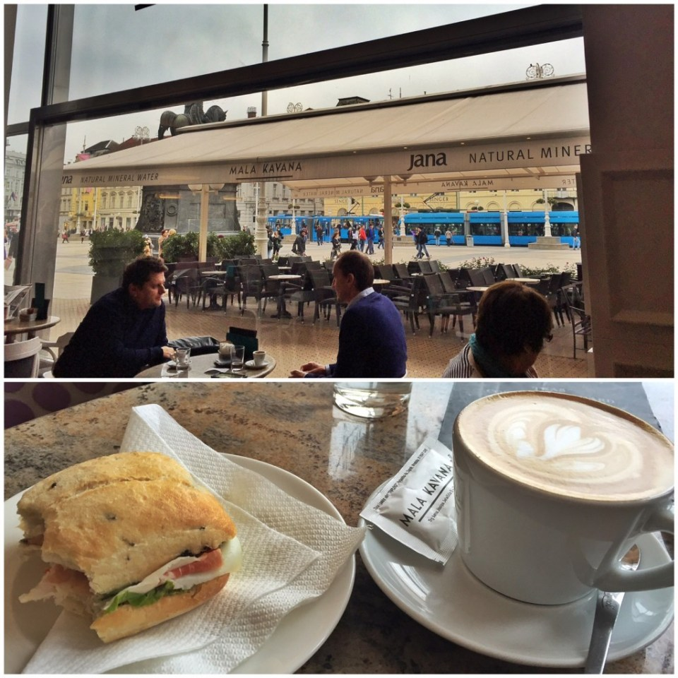"""This """"kava s mlijekom"""" is just steamed milk with espresso, and the sandwich is a small one with prsut (think proscuitto) and cheese, but it's under $6 Canadian. And see? People sit and talk over coffees, enjoying life."""