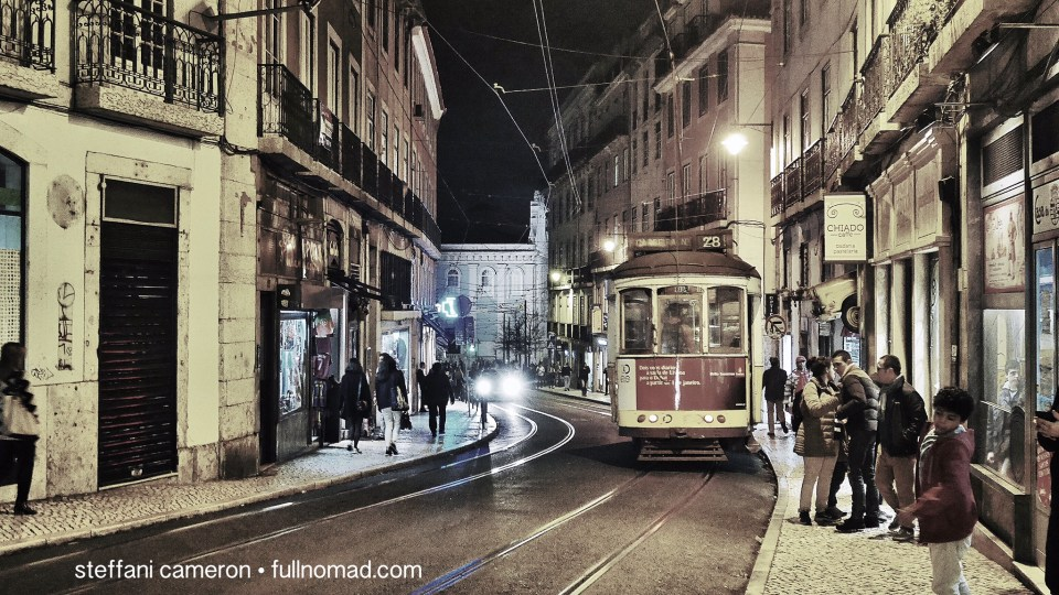 The iconic Lisbon trolley by night in the Bairro Alto 'hood.