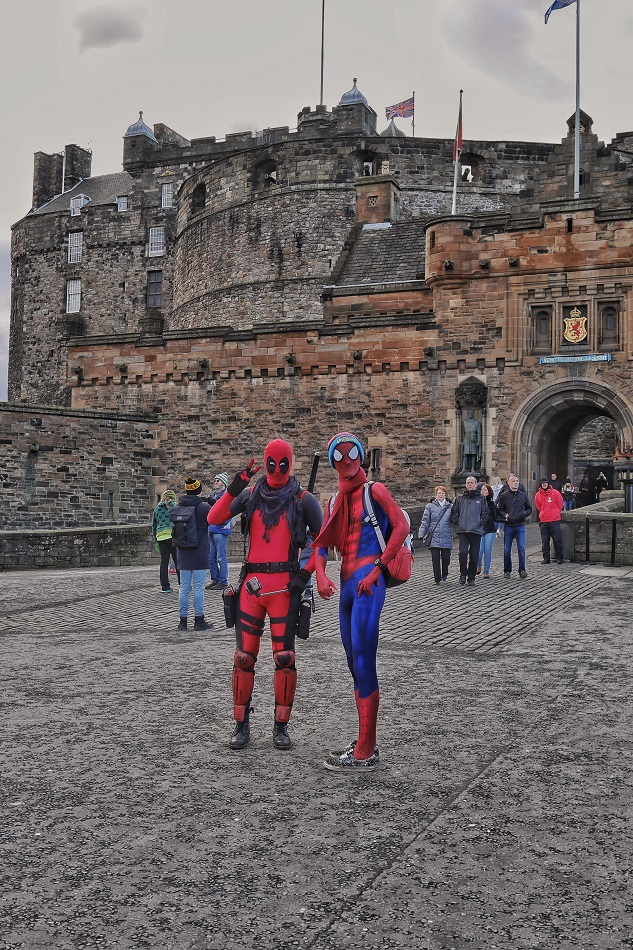 Spiderman and Deadpool hanging out at the Edinburgh Castle, as superheroes do.
