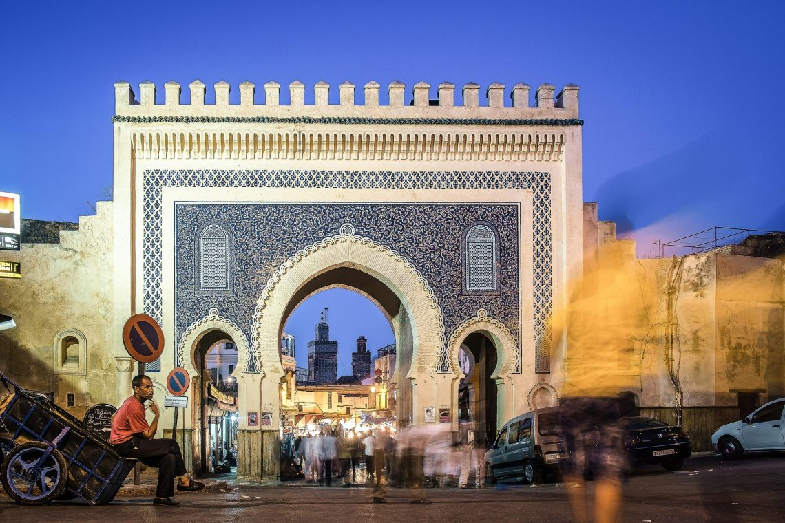 The Bab Boujloud (Blue Gate)—so named for the blue Fassi tiles on the outside—was constructed in 1913 by the French in a Mauresque-Andalusian style; the original 12th century entrance to the medieval medina sits beside it. The swirls-and-stars-patterned tiles switch to green on the inside, but from either direction it's an impressive and bustling entry to the historic area's 9,500 streets and alleys. Photographer: Sabino Parente (www.sabinoparente.com) via Bloomberg