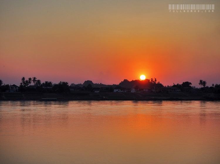 Mekong River sunset in fog