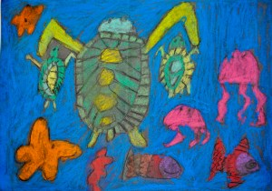 The beauty of sea turtles, star fish, jelly fish and fishes, is shown here. It is an image of colourful busyness and abundance, a depiction of creativity and aliveness that healing through therapy and shamanic practices aims for.