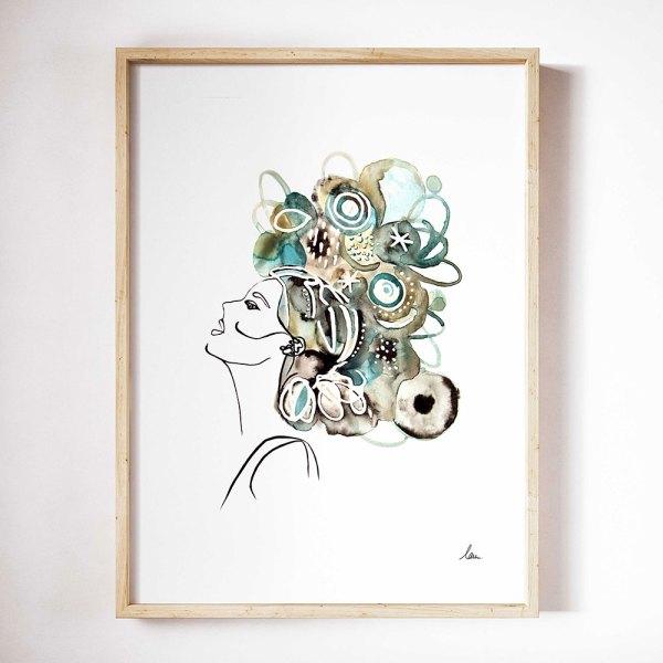 illustration aquarelle femme mystique