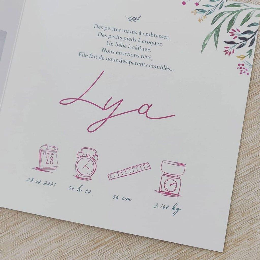 Création de faire part, illustration bébé, faire-part sur-mesure, Lya, By Full of Lau.