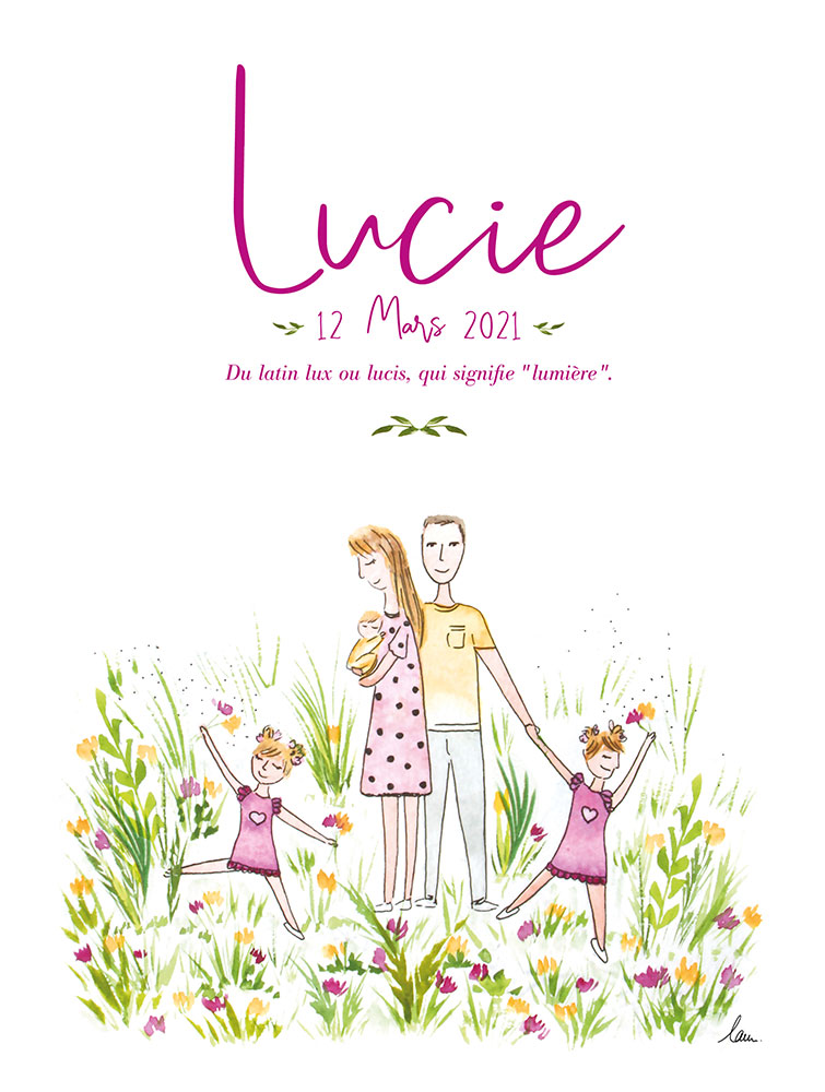 Création de faire part, tableau de naissance, illustration bébé, Lucie, By Full of Lau.