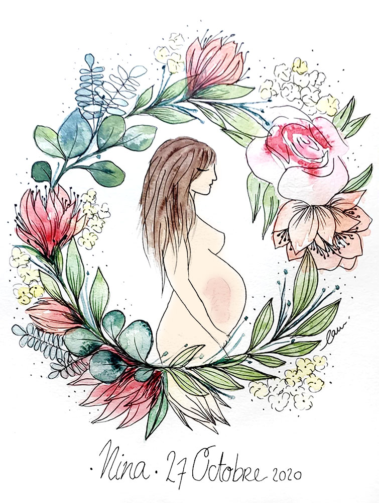 Création de faire part, tableau de naissance, illustration bébé, Amandine, By Full of Lau.