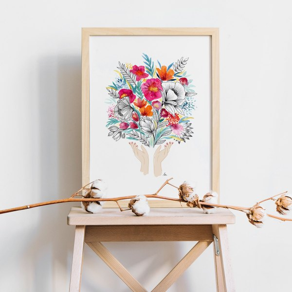 offrir des fleurs, fête des mère, illustration full of lau