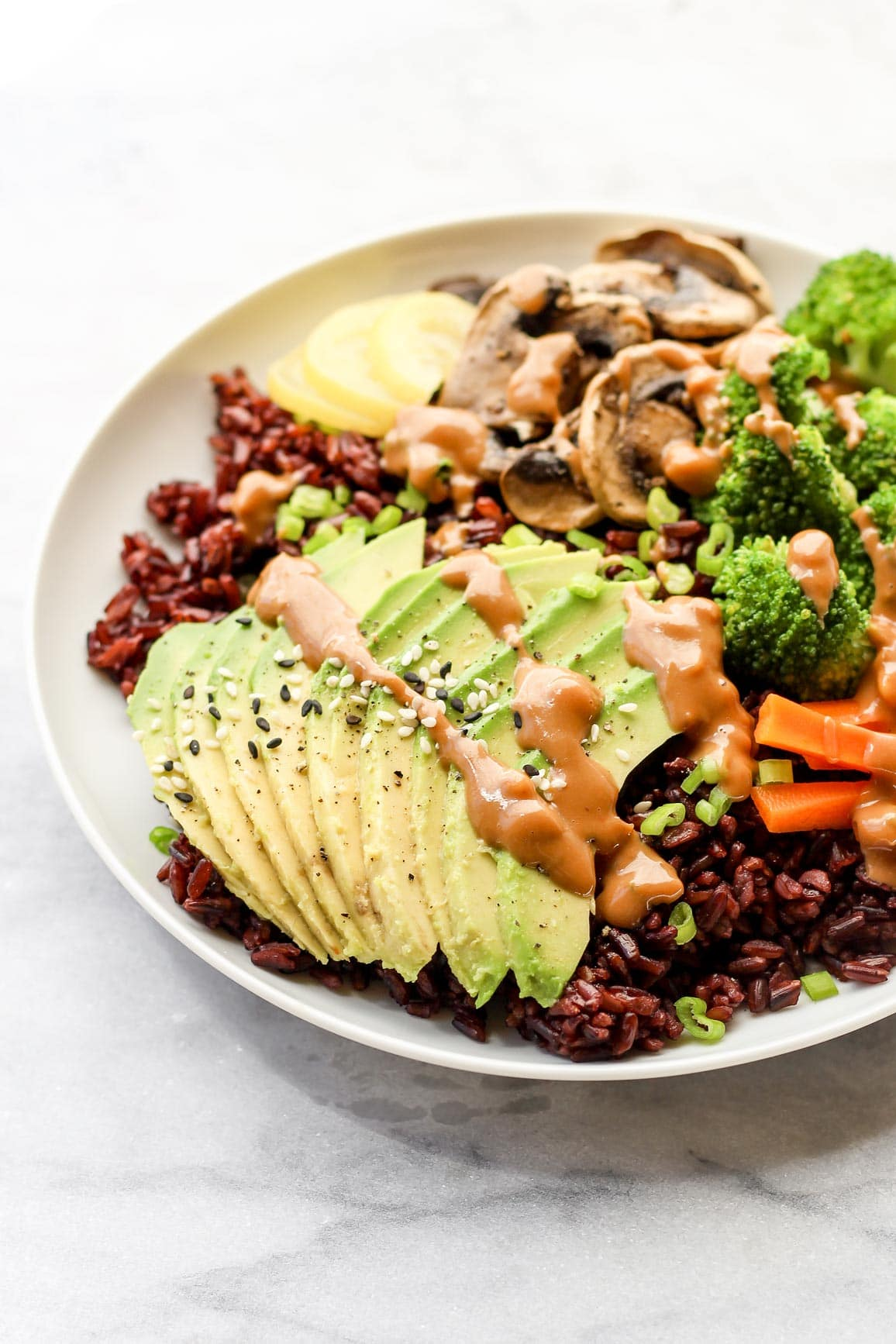 Glowing Black Rice Bownl with Almond Butter Dressing