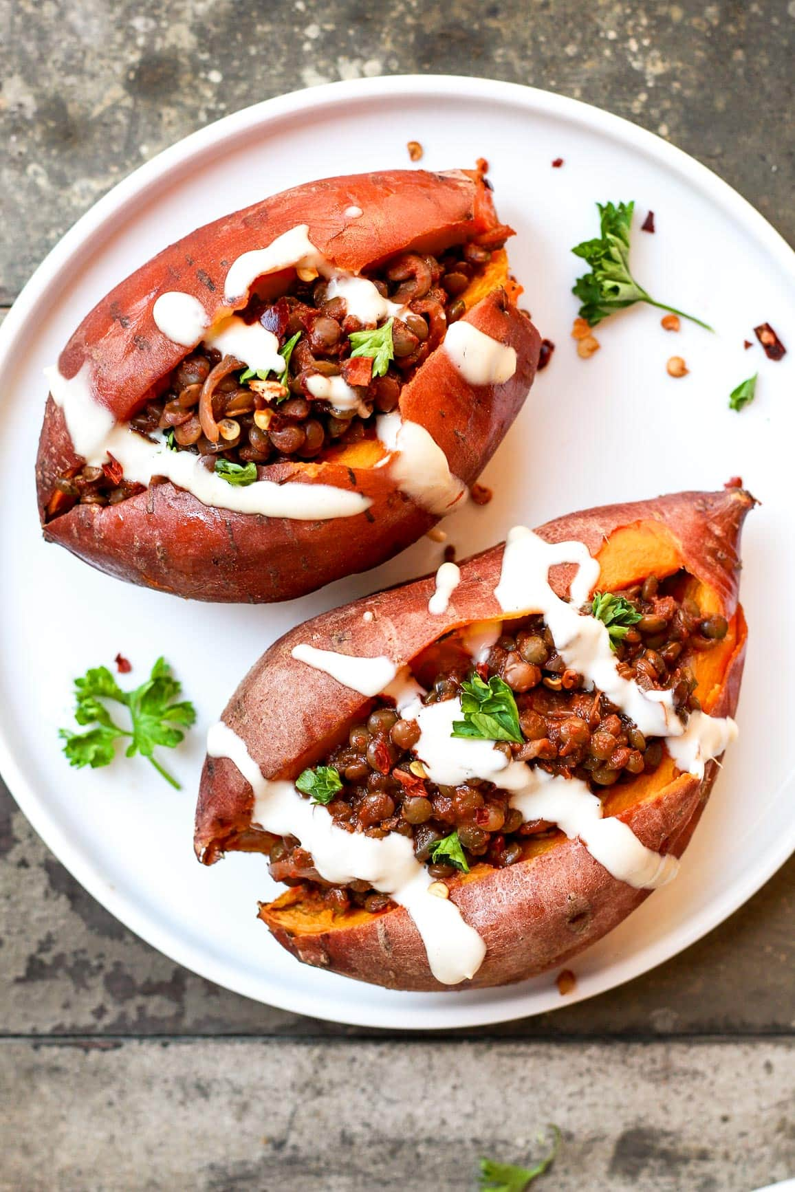 BBQ Lentil Stuffed Sweet Potatoes