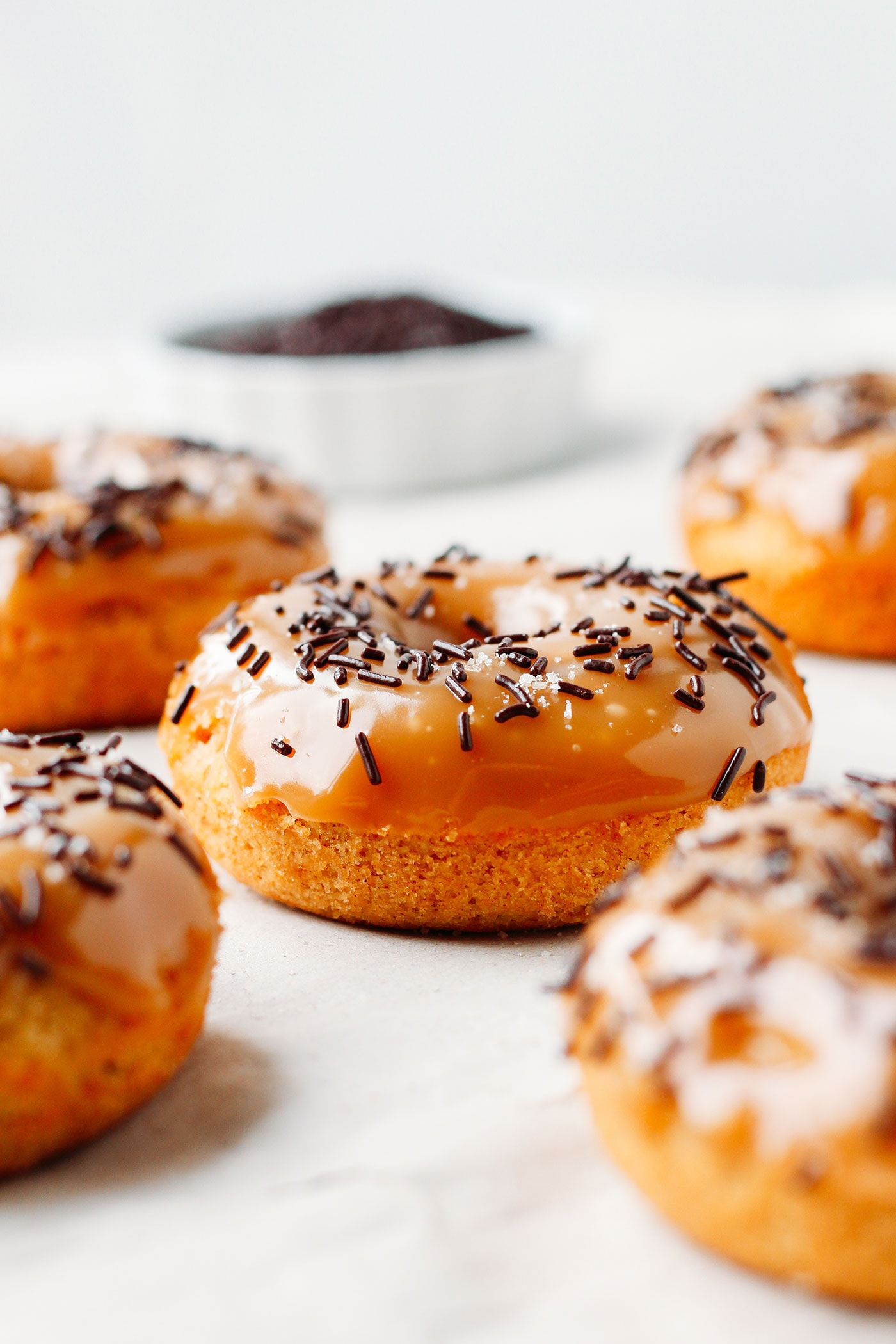 Vegan Baked Orange Donuts with Salted Caramel Glaze