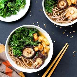 Lemongrass and Shiitake Soup with Kale and Tofu