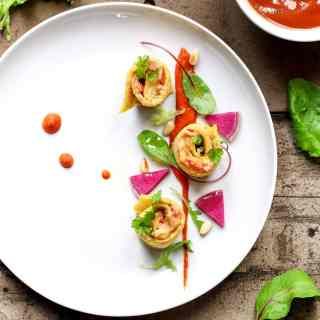 Baba Ganoush Rolls with Red Bell Pepper Puree