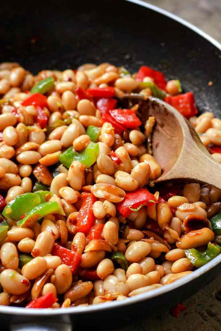 Vegan Kung Pao White Beans Skillet