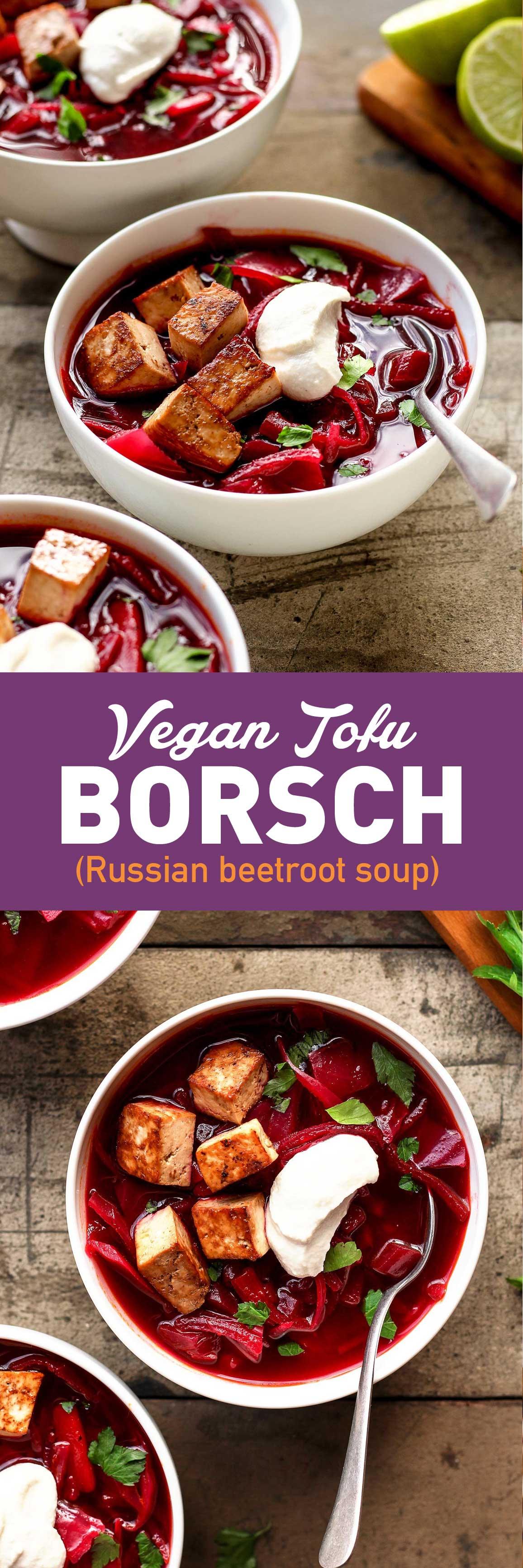 Vegan Tofu Borsch (Beet Soup)