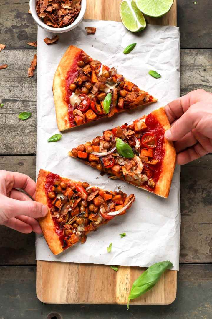 Curried Chickpea & Sweet Potato Pizza with Coconut Bacon