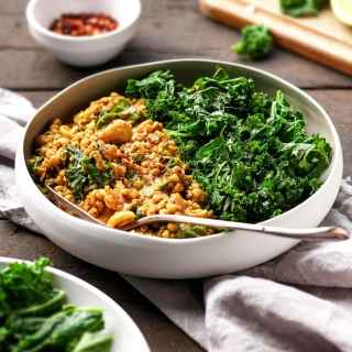 Cashew Buckwheat Curry with Garlic Kale