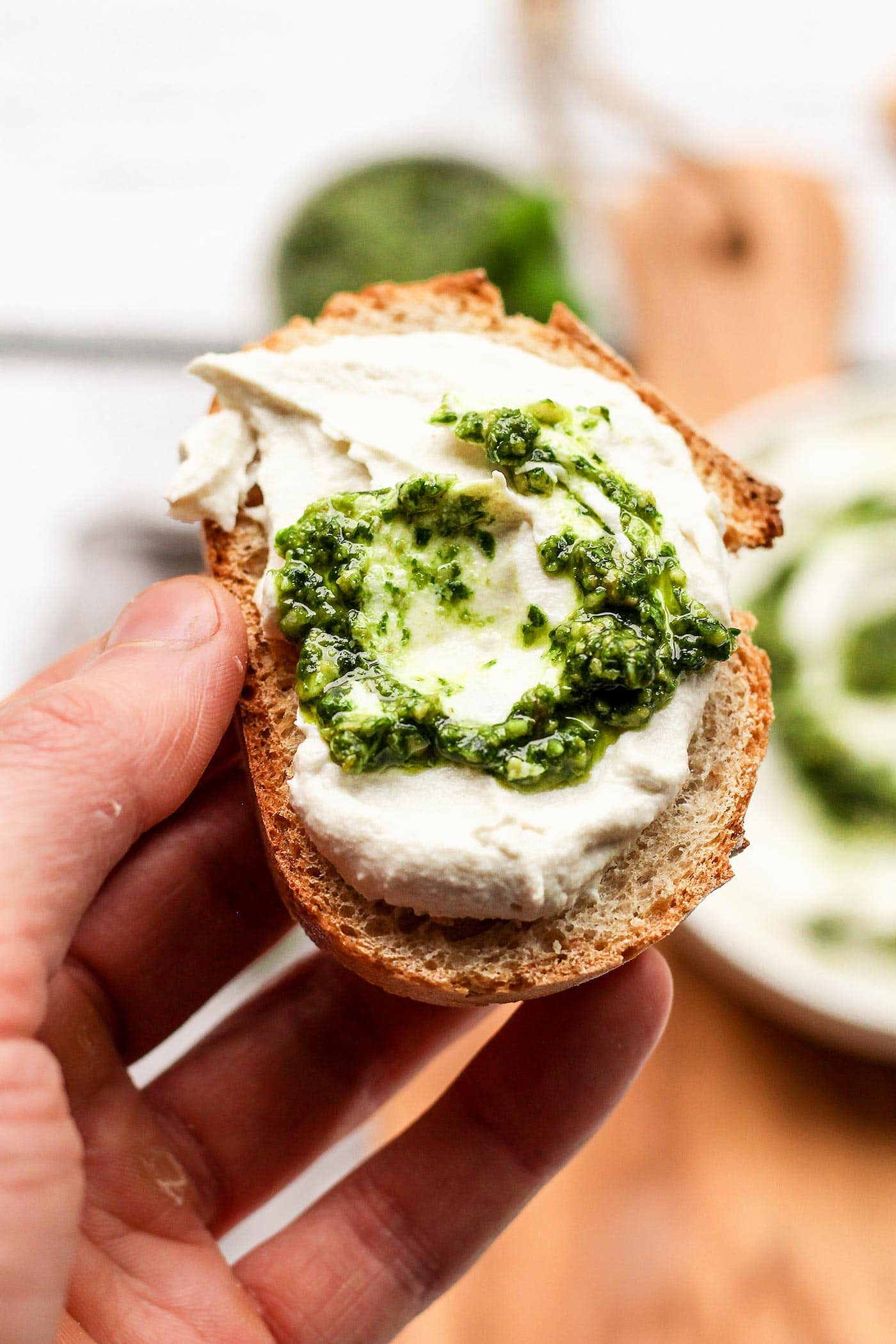 Vegan Pesto Swirl Cream Cheese