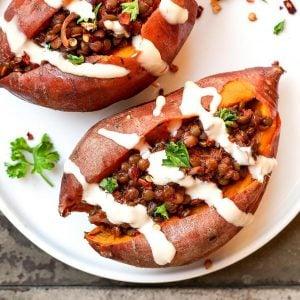 BBQ Lentil Stuffed Sweet Potatoes