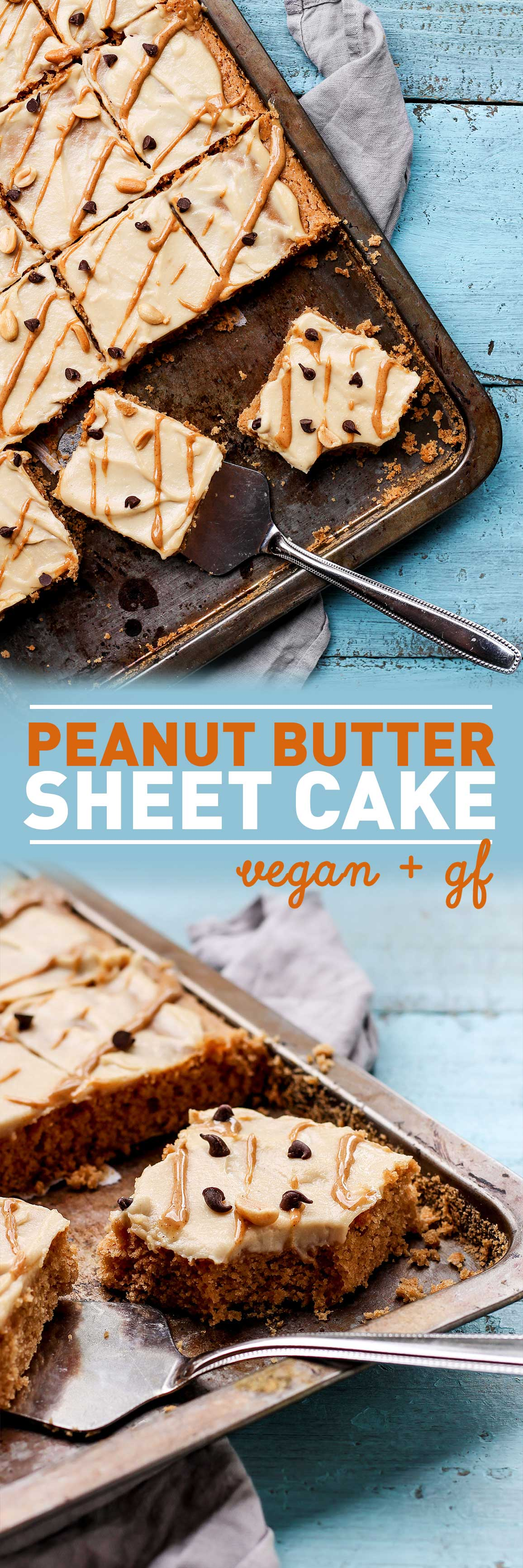 Peanut Butter Sheet Cake (Vegan + GF)