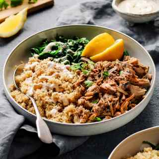 "Easy Jackfruit ""Chicken"" Quinoa Bowls"
