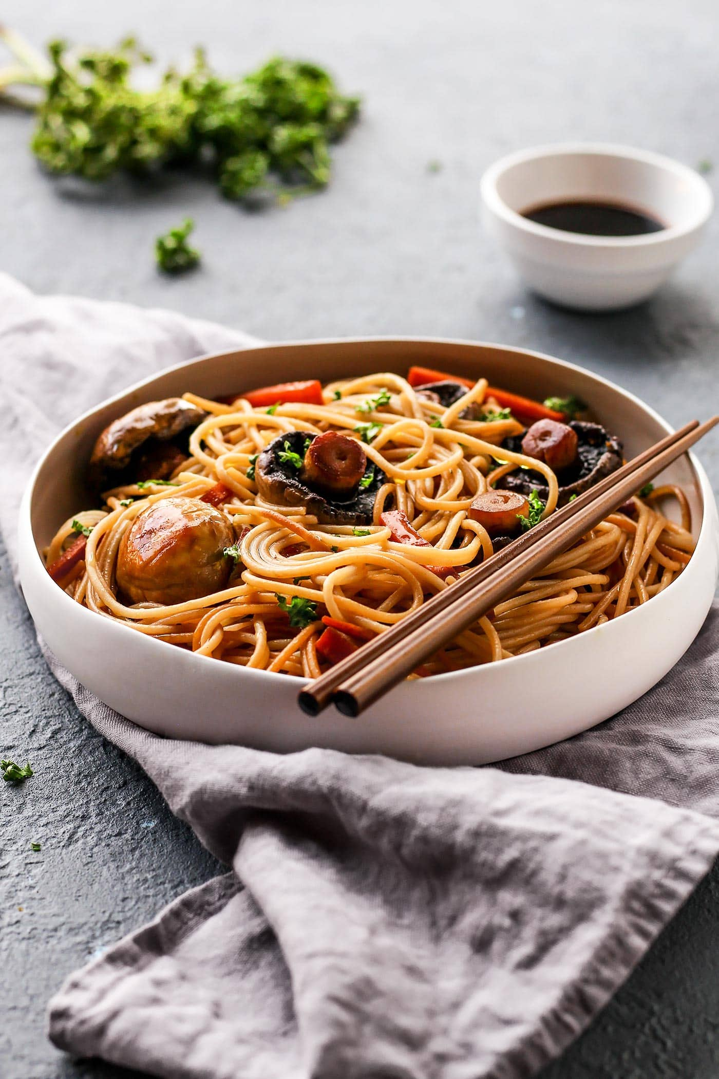 Sesame Glazed Mushroom Noodles