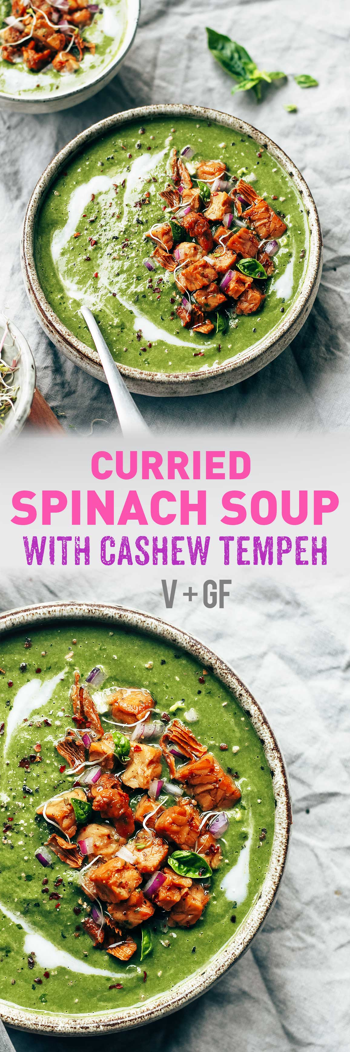 Curried Spinach Soup with Cashew Tempeh