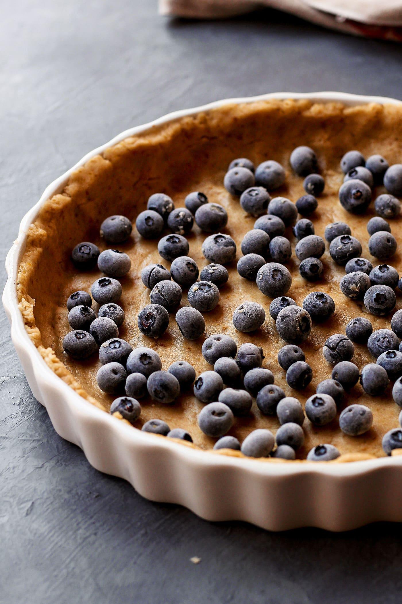 Vegan Blueberry Custard Pie (Gluten-Free)