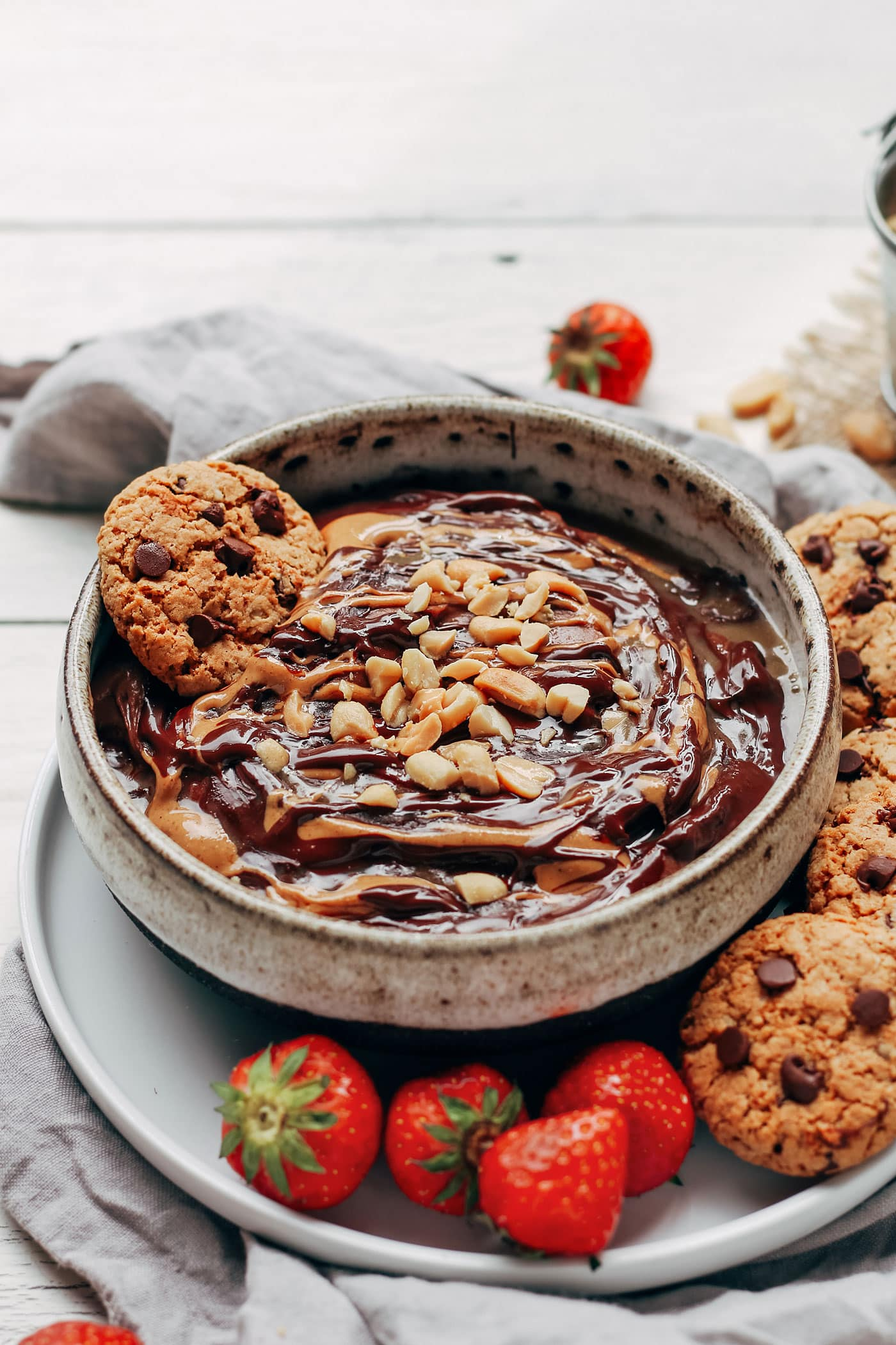 Snickers Hummus with Cookies - Full of Plants