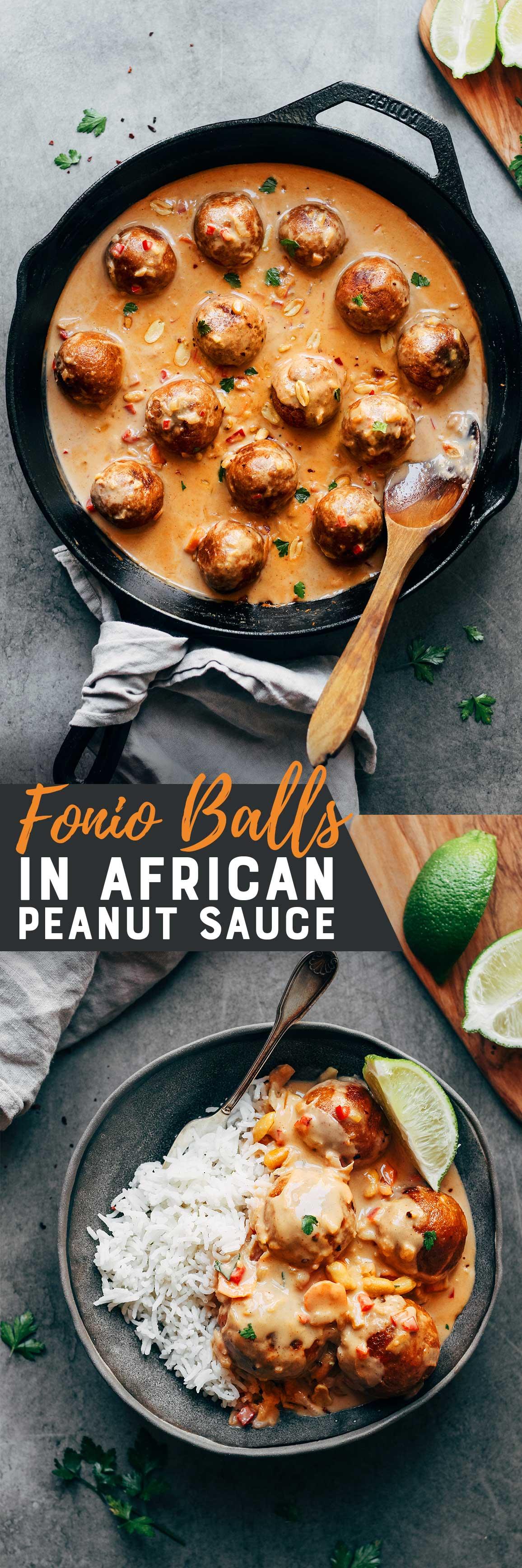 Fonio Balls in African Peanut Sauce (Vegan)