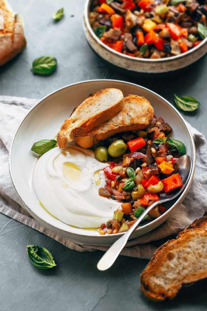 Eggplant Caponata with Almond Yogurt