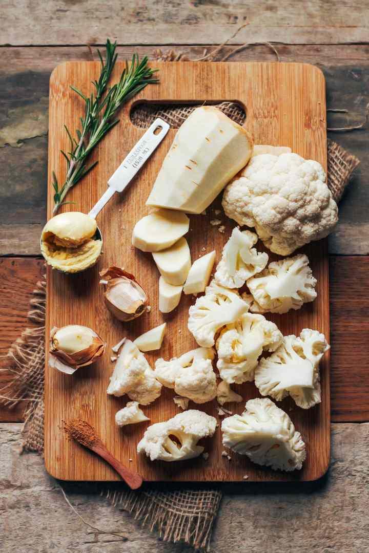 Mashed Cauliflower & Parsnips with Garlic Butter Mushrooms