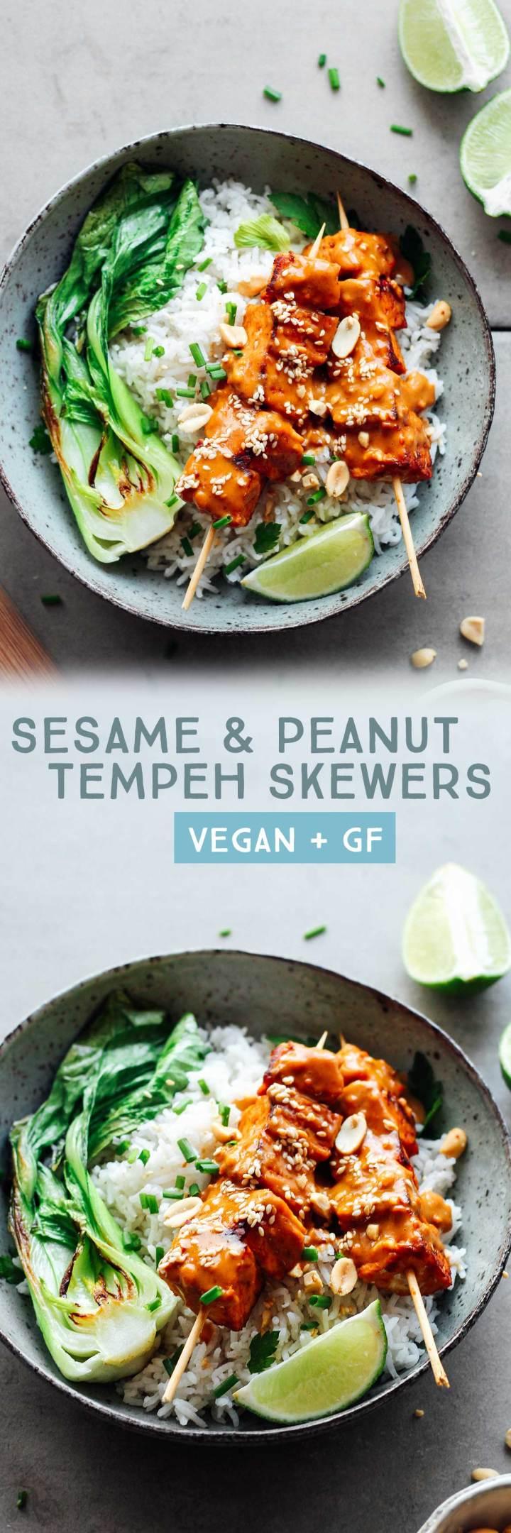 Sesame & Peanut Tempeh Skewers